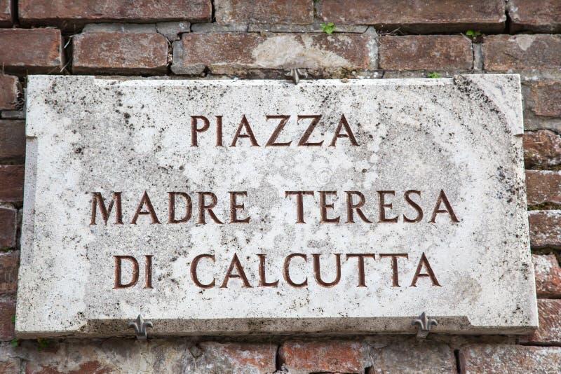Piazza Madre Teresa di Calcutta znak zdjęcie stock