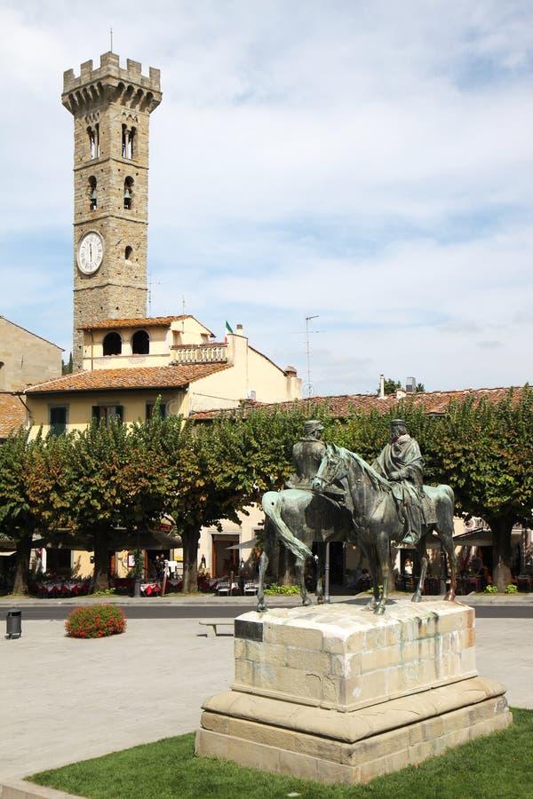 Piazza Mino di Fiesole in Toscana, Italia immagini stock