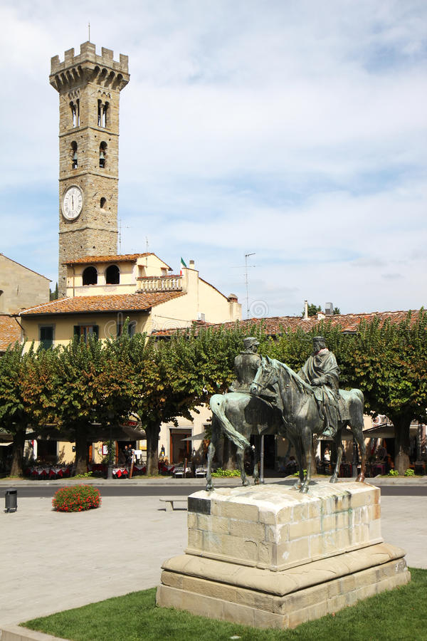 Piazza Mino Di Fiesole in Toscanië, Italië stock afbeeldingen