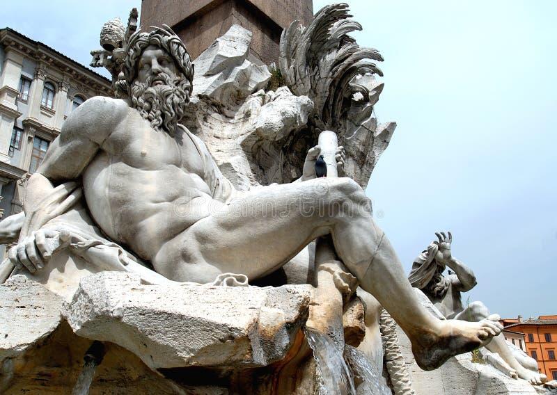 Piazza Navona. Fontana dei Quattro Fiumi in Piazza Navona stock image