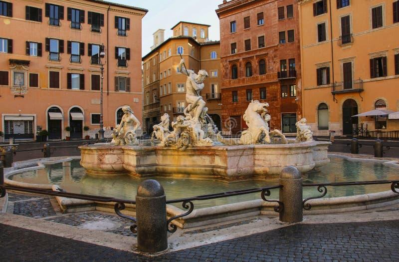 Piazza Navona, de Fontein van Neptunus in Rome, Italië royalty-vrije stock fotografie
