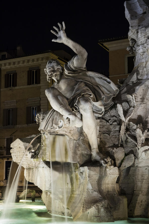 Piazza Navona, Four Rivers Fountain in Rome, Italy: Rio della Plata. This is a detail of the stunning Four Rivers Fountain in Piazza Navona, Rome, a masterpiece royalty free stock photo