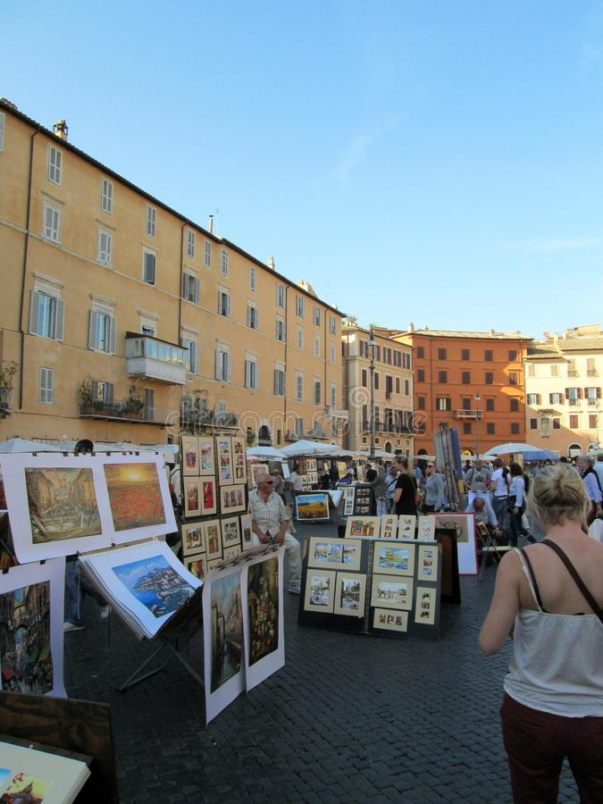 Piazza Navona Artists and street vendors Roma Italy Europa. The Piazza Navona occupies the place where the Domitian stadium Agonal Circus was located in the year stock image