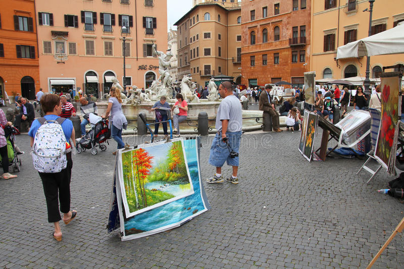 Download Piazza Navona, Rome editorial stock image. Image of painting - 23994669