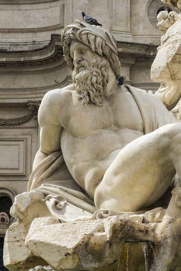 Piazza Navona in Rome. Detail of Zeus statue in Piazza Navona, Rome stock photo