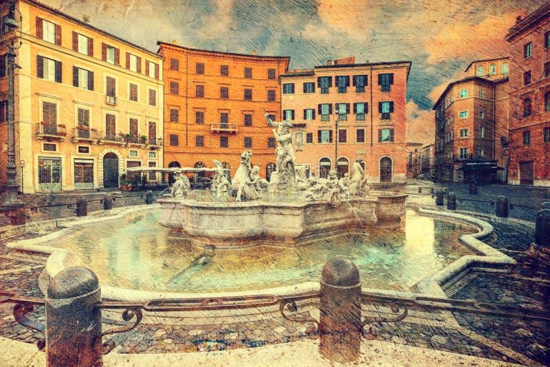 Piazza Navona, Rome. Italië. stock afbeelding