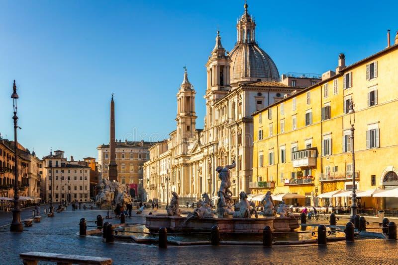 Piazza Navona in Rome, Italië vroeg in de ochtend stock afbeelding