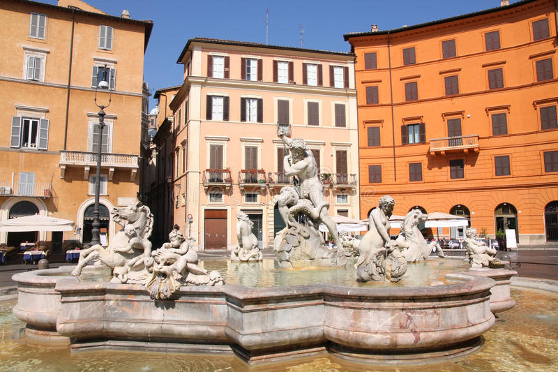 Piazza Navona, Rome, Italy. Piazza Navona, Neptune Fountain in Rome, Italy stock images