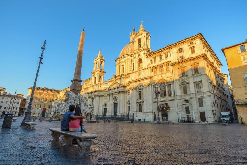 Piazza Navona, Rome, Italy. Love couple at Piazza Navona, Rome, Italy royalty free stock photos