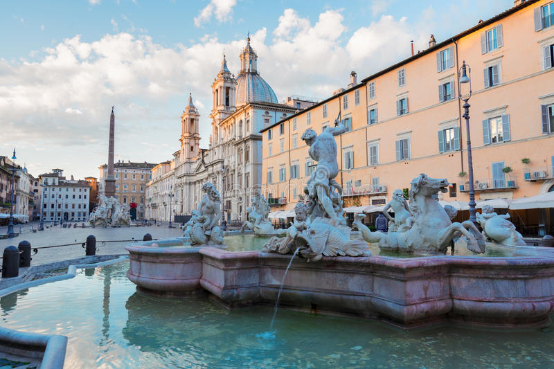 Piazza Navona, Rome, Italy. Panoramic view of Piazza Navona and fountain del Moro in Rome, Italy stock image