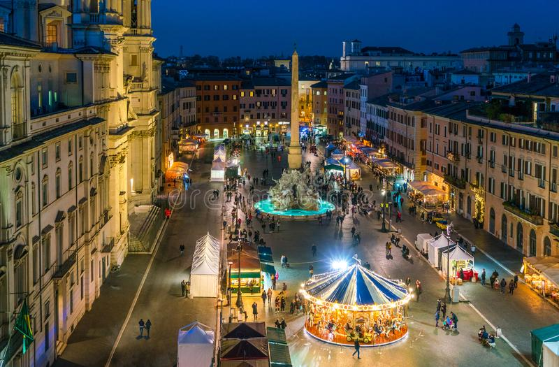 Piazza Navona in Rome during Christmas time. Piazza Navona is a square in Rome, Italy. It is built on the site of the Stadium of Domitian, built in the 1st stock photos