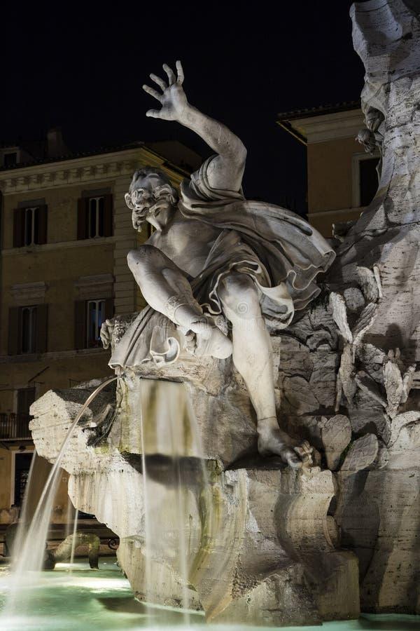 Piazza Navona, Vier Rivierenfontein in Rome: Rio della Plata royalty-vrije stock foto