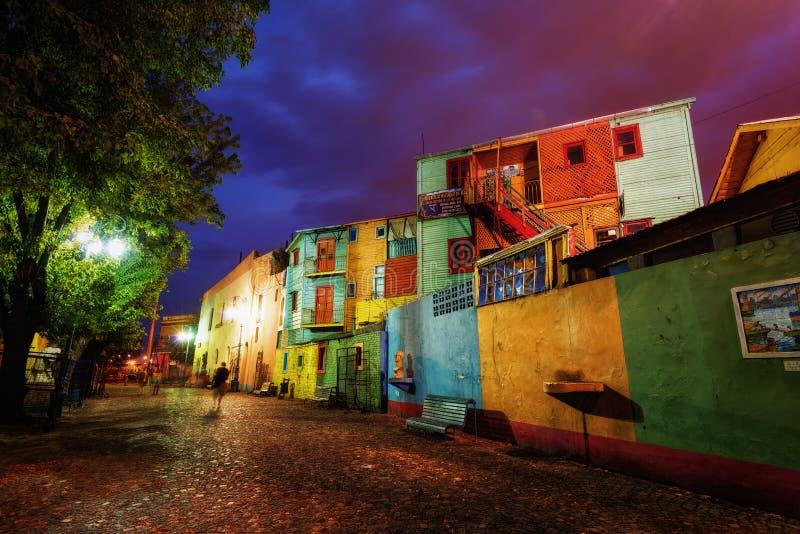 Piazza pubblica in La Boca, Buenos Aires, Argentina Preso durante immagini stock libere da diritti