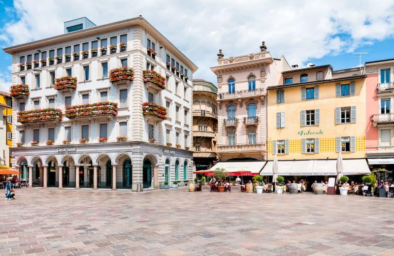 Piazza Riforma av Lugano arkivbilder