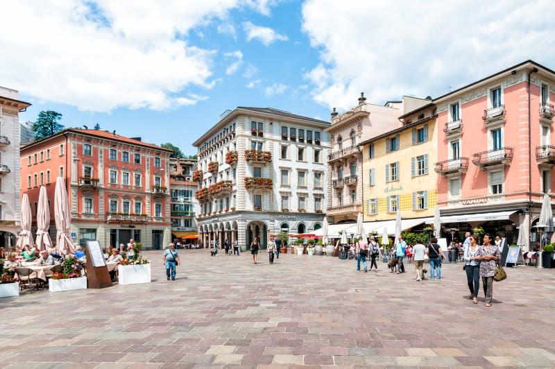 Piazza Riforma av Lugano arkivbild