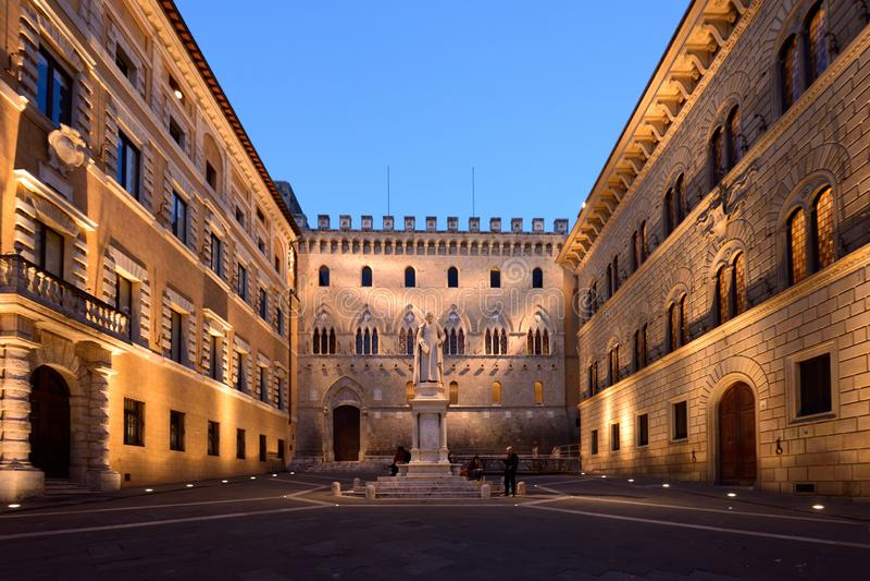 Piazza Salimbeni, Siena, Toscani?, Itali? royalty-vrije stock fotografie