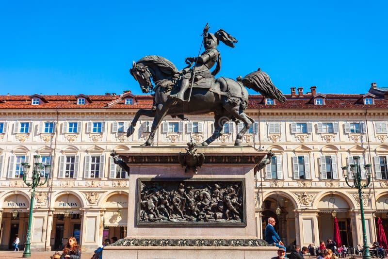 Piazza San Carlo Square, Turin fotografering för bildbyråer