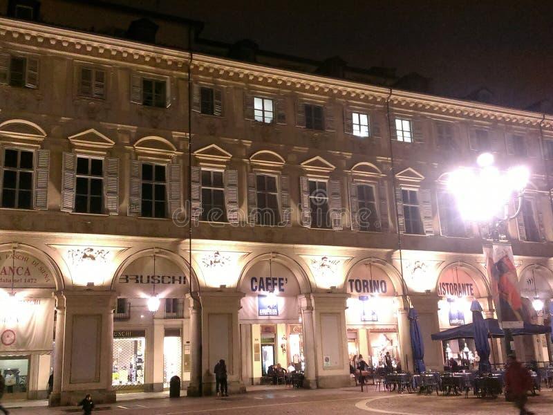Piazza san carlo torino at night italy royalty free stock photo