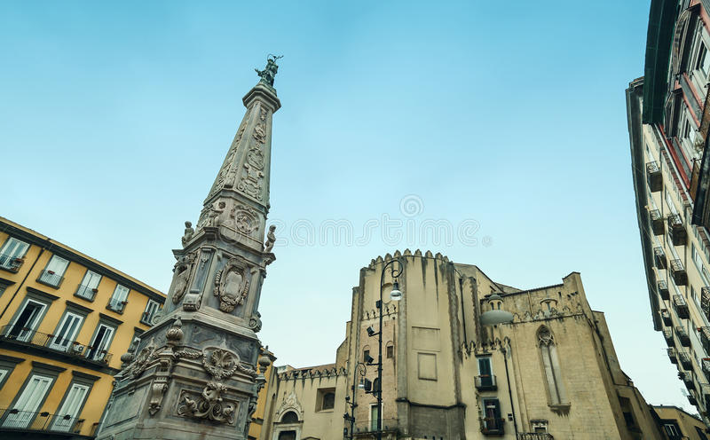 Piazza San Domenico Maggiore, Naples zdjęcie royalty free