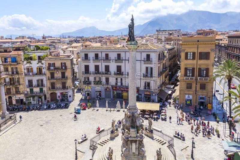 Piazza San Domenico, Palermo, Sicili?, Itali? stock fotografie