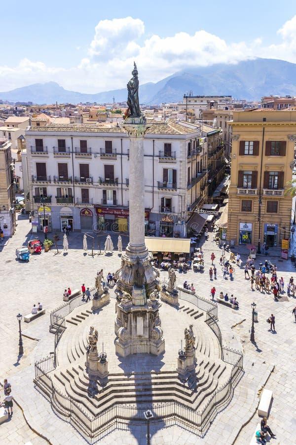 Piazza San Domenico, Palermo, Sicilia, Italia immagini stock libere da diritti