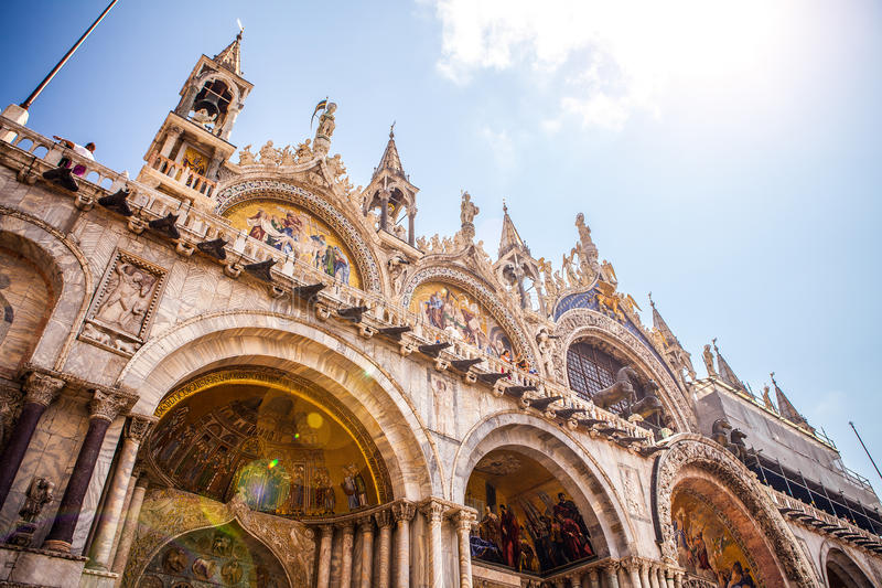 Piazza San Marco with the Basilica of Saint Mark and the bell tower of St Mark's Campanile. royalty free stock photos