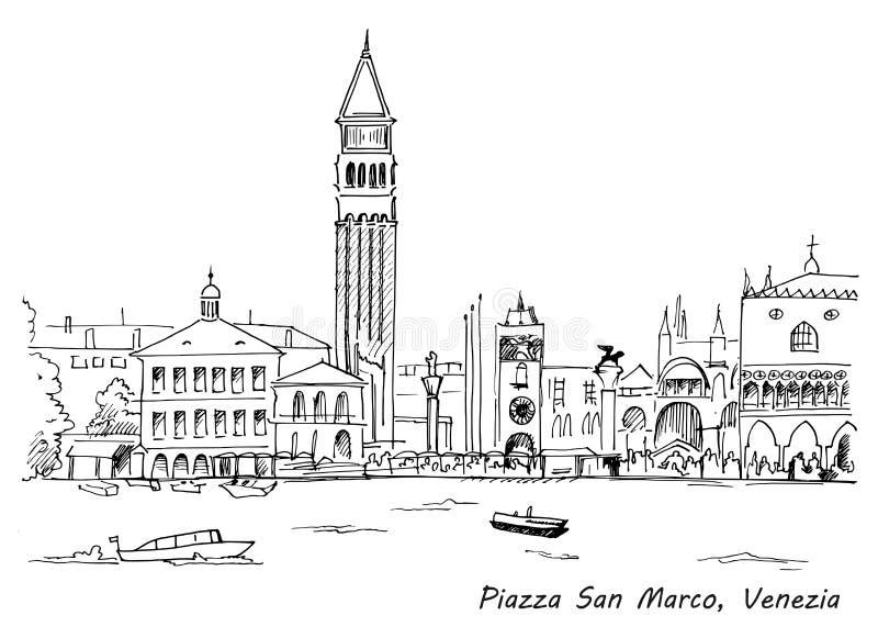 Piazza San Marco con il Campanile ed il palazzo del Doge Venezia, Italia royalty illustrazione gratis