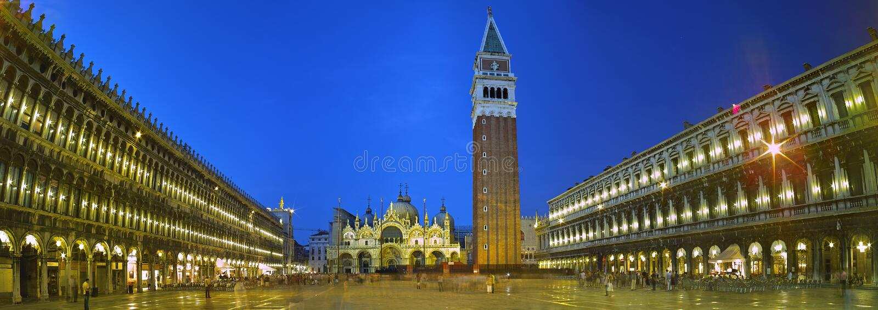 Piazza san marco night view stock photo