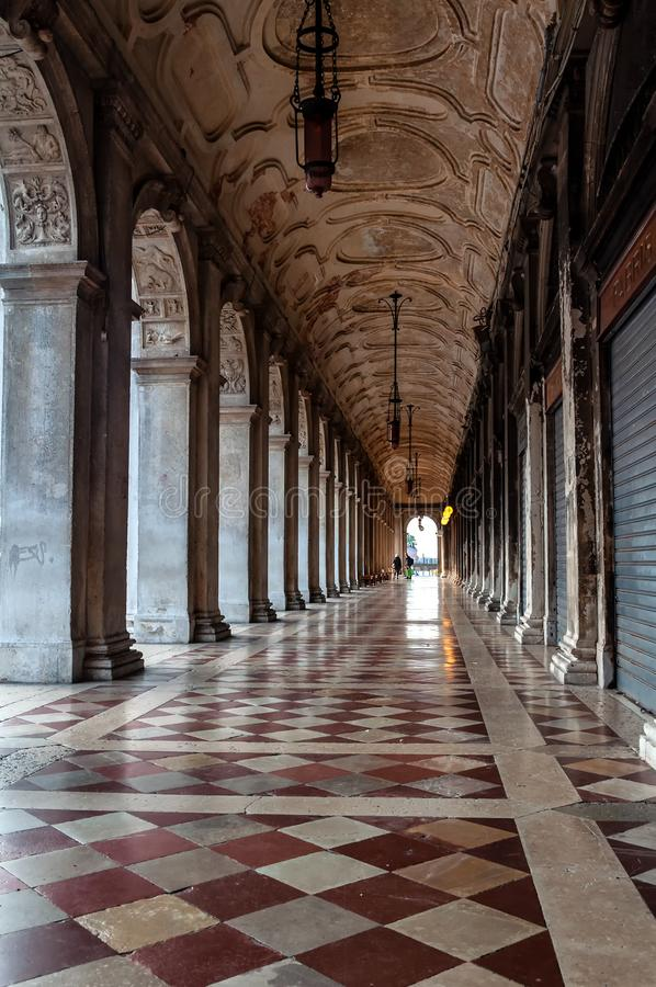 Archway along Piazza San Marco in Venice royalty free stock photo