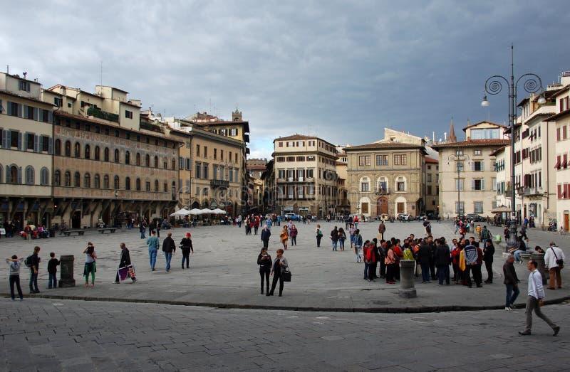 Piazza Santa Croce, Florence, Italien arkivbild