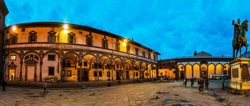 Piazza Santissima Annunziata i Florence, Italien arkivfoto