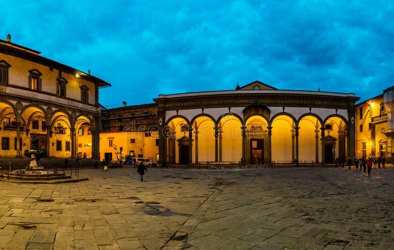 Piazza Santissima Annunziata i Florence, Italien royaltyfri bild