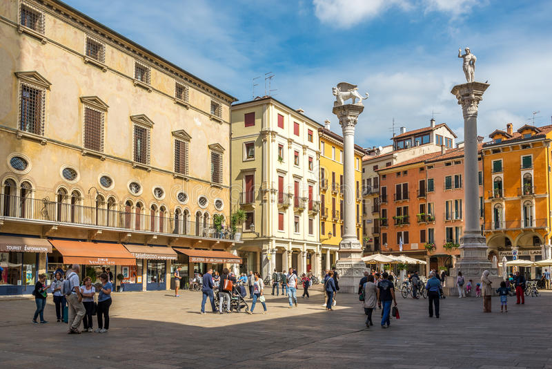 Piazza Signiori with columns in Vicenza royalty free stock photos