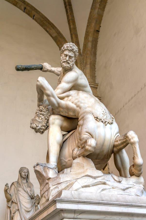 Piazza Signoria Firenze I della loggia della statua di Hecules Nessus Centauer immagine stock