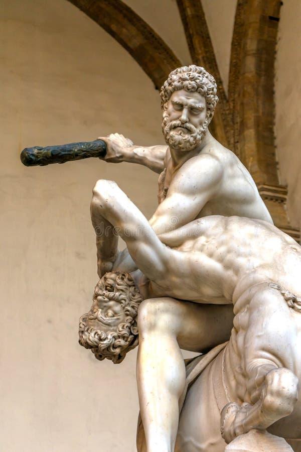 Piazza Signoria Firenze I della loggia della statua di Hecules Nessus Centauer immagini stock