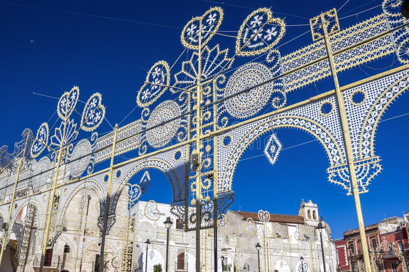 Saint Roch`s Feast street decoration. Piazza Umberto I or Umberto I Square beautiful decoration for La Festa di San Rocco, Saint Roch`s Feast in Noicattaro royalty free stock images