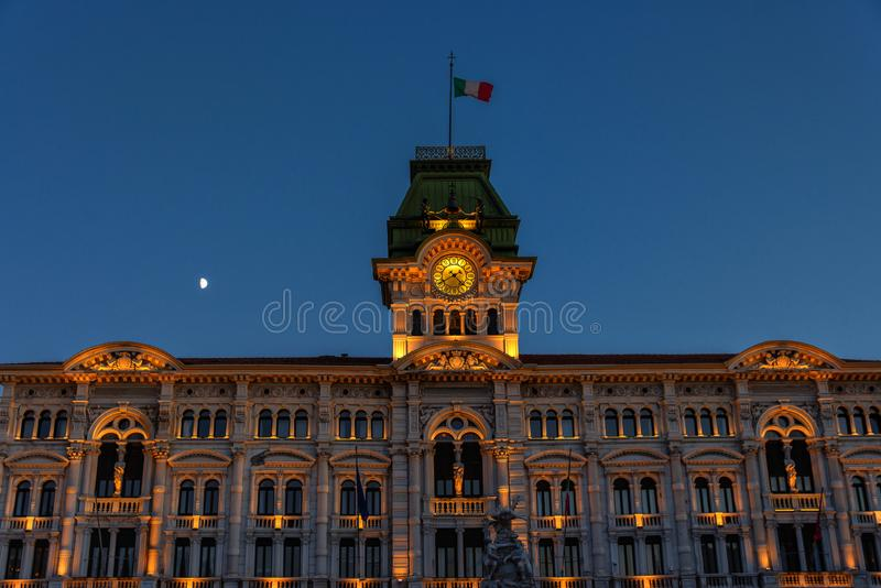 Trieste, Italy, Town Hall, Piazza Unita d`Italia. Piazza Unita d`Italia Unity of Italy`s Square is the main town square in Trieste, Italy. The Town Hall is stock photo