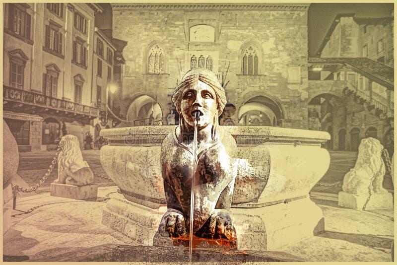 Piazza Vecchia, Citta Alta, Bergamo, Italien vektor illustrationer