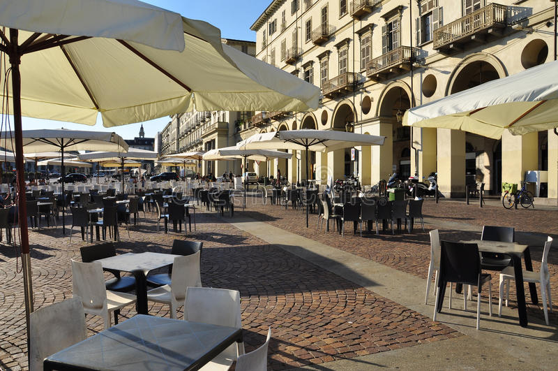 Piazza Vittorio, Turijn, Italië stock afbeeldingen
