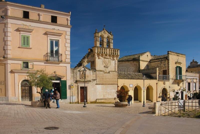 Piazza Vittorio Veneto. Matera. Basilicata. Apulia. Italy stock photos