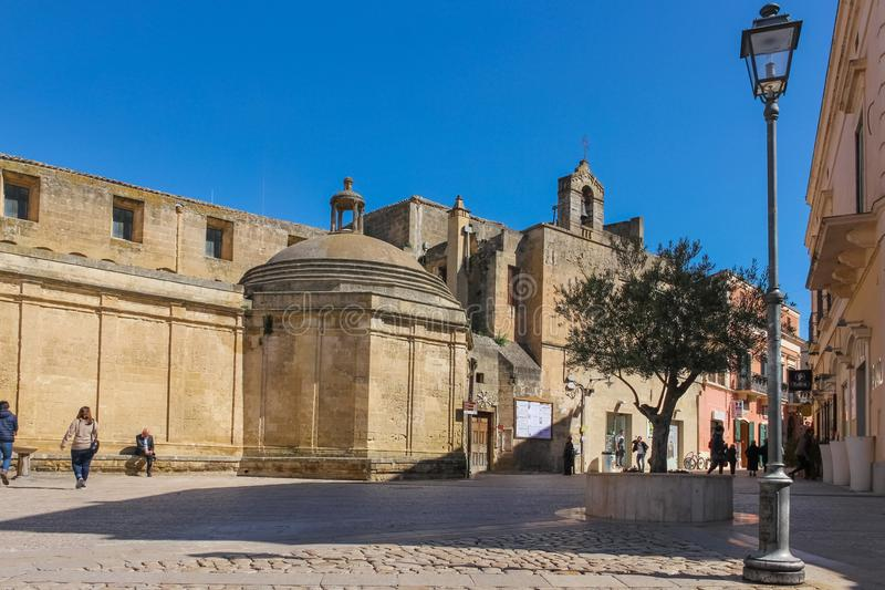 Piazza Vittorio Veneto. Matera. Basilicata. Apulia. Italy royalty free stock photo
