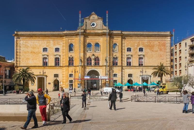 Piazza Vittorio Veneto. Matera. Basilicata. Apulia. Italy stock image