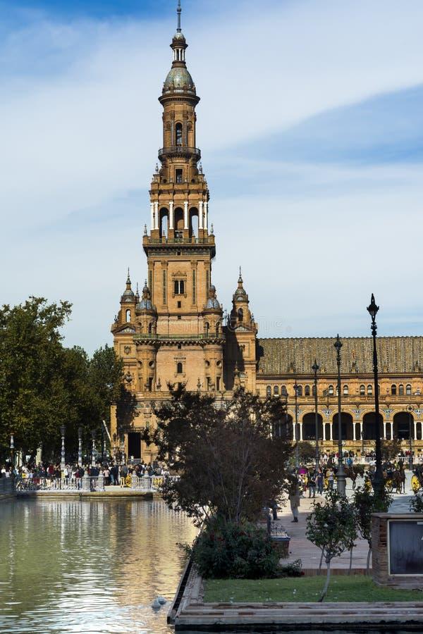 Piazza von Spanien in Sevilla, Spanien stockbilder