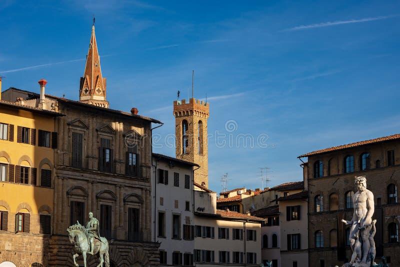 Piazzadella Signoria - fyrkant i Florence Italy royaltyfria foton