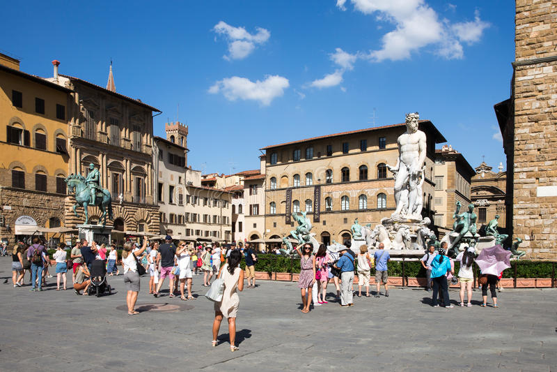Piazzadella Signoria i Florence, Italien arkivfoto