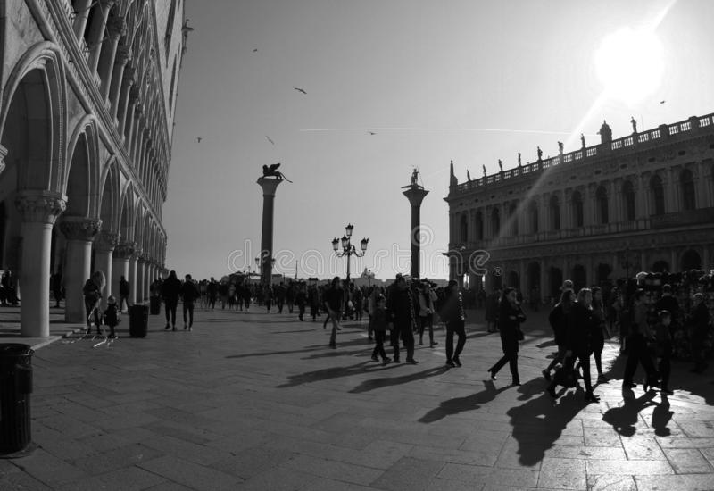 Piazzetta San Marco with Lion of Venice.Black and White photo. stock photos
