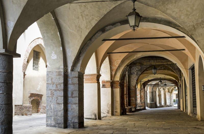 Piazzo di Biella, portico. Piazzo (Biella, Piedmont, Italy) - A portico in the ancient town stock images