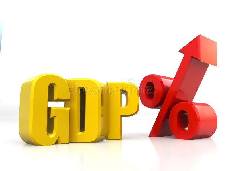 PIB, hausse de produit intérieur brut, augmentation, finances, économie, développement, rendu 3D d'isolement sur le fond blanc illustration de vecteur