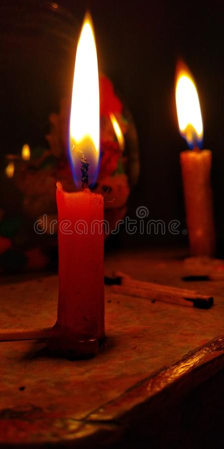 Candle flame. A pic of candle flame in black room royalty free stock photo