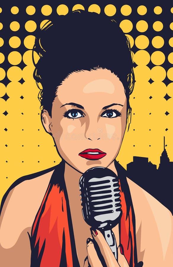 PIC do cantor da mulher ilustração do vetor